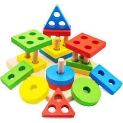 Kyпить Educational Wooden Shape Sorting Preschool Stacking Blocks Toddler Puzzles Toys на еВаy.соm