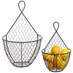 Set of 2 Wall Mounted Brown Chicken Wire Metal Baskets / Hanging Display Holders