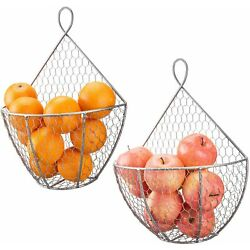MyGift Set of 2 Silver Metal Chicken Wire Wall Mounted Hanging Produce Baskets