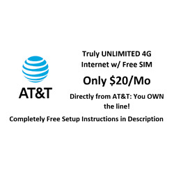 Kyпить FREE $20/MO AT&T UNLIMITED 4G LTE DATA PLAN FOR HOTSPOT / ROUTER- Your Own Line на еВаy.соm