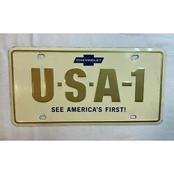 Kyпить ORIGINAL CHEVROLET U-S-A-1 SEE AMERICA'S FIRST LICENSE PLATE CHEVY USA 1  на еВаy.соm