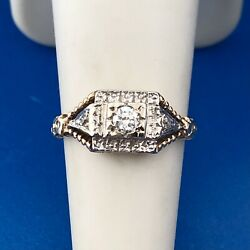 Kyпить Art Deco 14K White Yellow Gold Diamond Accented Etruscan Style Engagement Ring на еВаy.соm