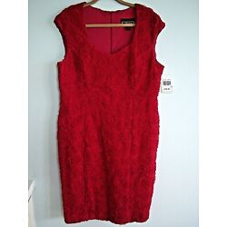 Studio Connection Sexy Red Dress w/ 3D Roses Size 18 NEW WITH TAGS
