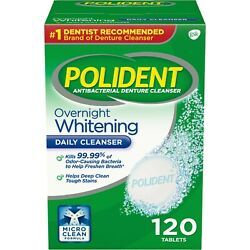 Kyпить Polident Overnight Whitening Antibacterial Denture Cleanser Tablets, 120 Count на еВаy.соm