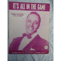 Kyпить VINTAGE SHEET MUSIC TOMMY EDWARDS IT'S ALL IN THE GAME на еВаy.соm