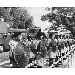 Singapore Police Riot Squad Line Up For Inspection With Arms 1955 OLD PHOTO