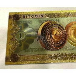 One Bitcoin Banknote Bill Gold Foiled