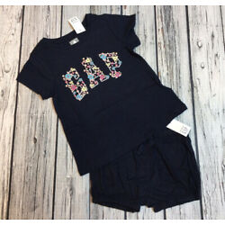 Baby Gap Girls 12-18 Months Floral Logo Shirt & Navy Blue Shorts Outfit. Nwt
