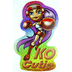 Cute Sporty Girl Holo Prism Vending Sticker Decal Glossy 2003 Boxing