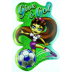 Cute Sporty Girl Holo Prism Vending Sticker Decal Glossy 2003 Soccer