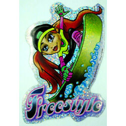 Cute Sporty Girl Holo Prism Vending Sticker Decal Glossy 2003 Wakeboard Surfing