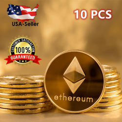 10 PCS Ethereum Coins 2021 Commemorative Collectors Gold Plated Crypto ETH Coin