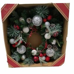 Frosted Christmas Wreath. Red and white Balls, Glitter Limbs, Pinecones 30in