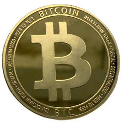 Bitcoin Gold Plated Physical Commemorative Crypto Coin B