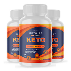 (3 Pack) Official Keto GT, BHB Ketones, 1 Bottle Package, 30 Day Supply