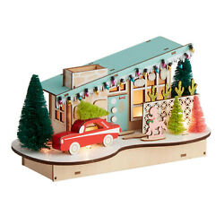 CHRISTMAS LIGHT UP MID CENTURY HOUSE WITH CAR NEW IN BOX SEALED PUTZ LED DECOR !