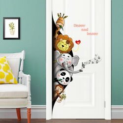 Kids and Babies Wall Stickers Zoo Animals Cartoon for Door or Wall Decor 57 X 26