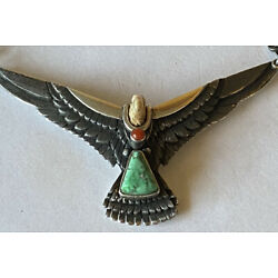 Extraordinary Signed Sterling Silver Carico Lake Turquoise Flying Eagle Necklace