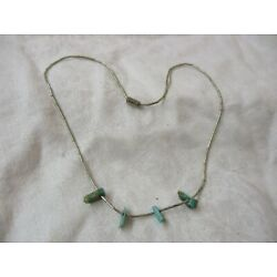 Vintage silver tone Bugle beaded Necklace with turquoise chunks
