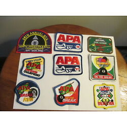 Vintage Billiard collectable pool league patches 9 Billiards patches 1990's APA