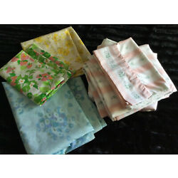 Lot of Vintage Sheets & Pillowcases Full/Twin Multicolor