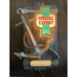 Vintage Heileman's Beer Lighted Special Export Rope Anchor Wall Sign 1978
