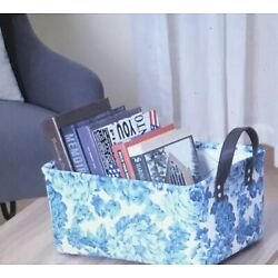 The Pioneer Woman Blue Floral Canvas Basket with Handles New