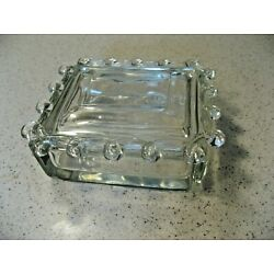 Vintage Glass Loop Edge Hand Blown Lariat Heisey Trinket Box with Cover