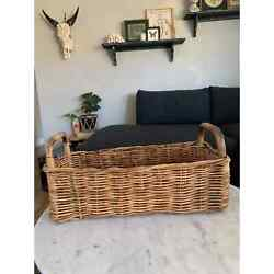Vintage Planter Basket with Bamboo Handles