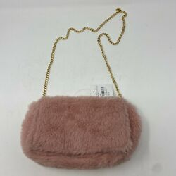 NEW Capelli New York Nordstrom Fuzzy Pink Purse Crossbody Bag Gold Tone Chain