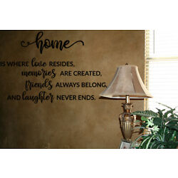HOME IS WHERE LOVE RESIDES VINYL WALL DECAL QUOTE WORDS STICKERS LETTERING WALL