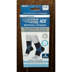 Copper Fit ICE Menthol Infused PLANTAR FASCIA Compression Sleeves ~S/M 8'' - 10''~