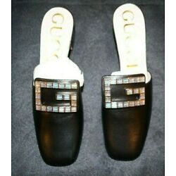 NEW GUCCI SHOES MADELYN CRYSTAL G BUCKLE BLACK LEATHER MULES