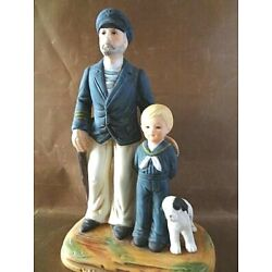 Norman Rockwell Porcelain Figure: Old Sailor W/Boy ''Looking Out To Sea'' NIB/COA