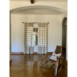 Threshold Linen Look Fretwork 54  x 95  Curtain Panels **LOT of Two Panels**
