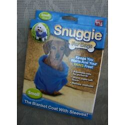 Snuggie for Dogs Small Blue As Seen on TV Keeps Dog Warm and Paws Free NIB