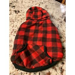 flannel print hooded fleece lined dog coat removable hood snap closure