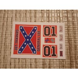 General Lee 1:24 1:25 scale water slide decals Dukes Of Hazzard white backing