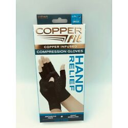 New Copper Fit Hand Relief Compression Gloves, Unisex, LARGE / XL