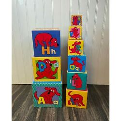 Clifford The Big Red Dog Cardboard Nesting Building Blocks - Numbers Letters