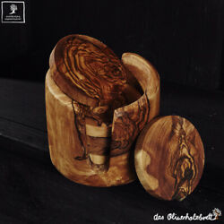 Set Saucer from Olive Wood for Lens Coasters with Holder 6teilig