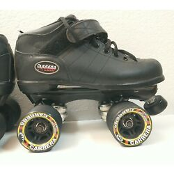 Riedell Carrera Speed Roller Skates Mens Size 6 Black Leather 94a Wheels