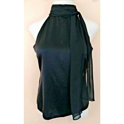 New GUESS by MARCIANO M Black Silk Sleeveless Blouse Turtleneck with Long Drape