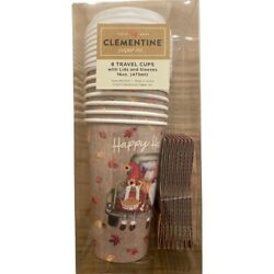 Fall Clementine Happy Harvest Gnome Disposable Travel Coffee Cups w/Lids/Sleeves