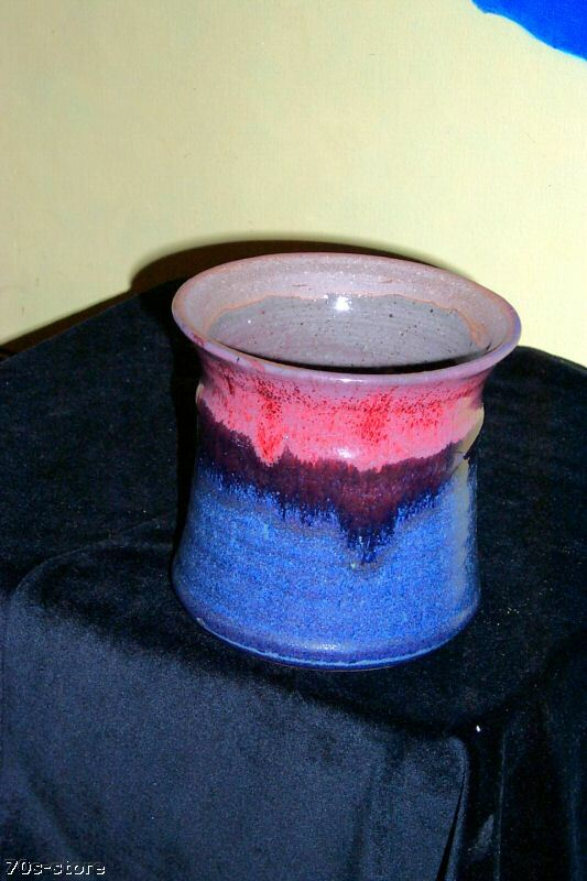 Vintage 70s Blue Red Glazed Ceramic Flower Pot Ebay