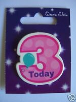 Small Shaped Party Badge - 3 Today (Girl)(AA SE 3rd)