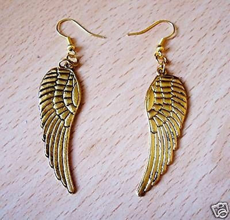 232d4532ed1fa4 Details about FAB LARGE GOLD ANGEL WING EARRINGS PIERCED OR CLIP