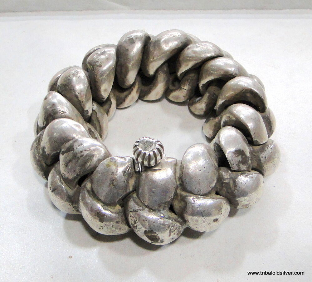 Antiques Collectibles: RARE! ANTIQUE COLLECTIBLE ETHNIC TRIBAL OLD SILVER HUGE