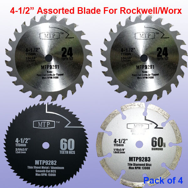 4x 4 1 2 Inch Metal Wood Tile Saw Blade For Rockwell Rk3441k Worx Rw9281 Compact Ebay