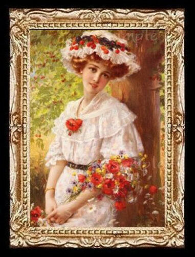 Victorian Flower Lady Miniature Dollhouse Picture Ebay